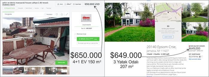İstanbul New York ev fiyatları karşılaştırma